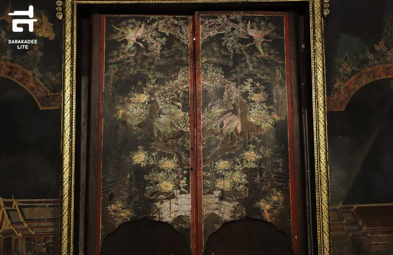 บานไม้ประดับมุกศิลปะญี่ปุ่น